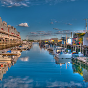 The Old Port by Chris Cavallo - City,  Street & Park  Markets & Shops ( reflection, skyline, maine, boats, lobster, fishing boat, ocean view, boardwalk,  )