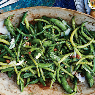 Snap Peas and Green Beans with Arugula-Mint Pesto