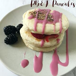 """""""PB&J"""" Pancake Stack (gluten-free and dairy-free)."""