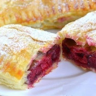 Puff From Ready-made Puff Pastry Stuffed With Frozen Cherries.