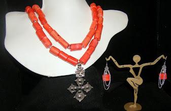 Photo: <BEREHYNYA> {Great Goddess Protectress} unique one-of-a-kind statement jewellery by Luba Bilash ART & ADORNMENT  #90 - FOUR DIRECTIONS ~ ЧОТИРИ НАПРЯМИ ЖИТТЯ - silver Eritrean cross pendant; coral; SS $180/set SOLD St John's Institute fundraiser Feb 7 2015