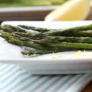 Roasted Asparagus with Lemon Garlic Yogurt Sauce.