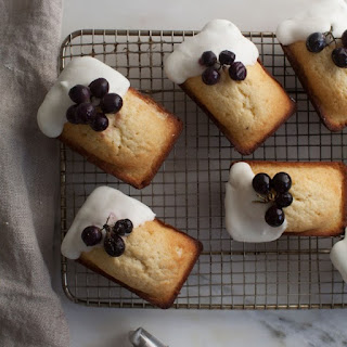 Mini Vanilla Pound Cakes with Lebneh Frosting and Roasted Grapes.