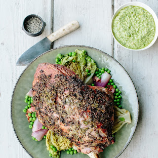Roast Lamb with Wild Garlic Pesto, Lettuce & Peas