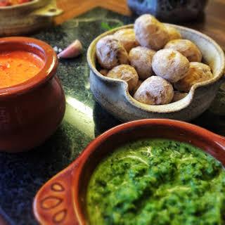 Papas Arrugadas ~ Canarian Wrinkled Potatoes with Mojo Sauces.