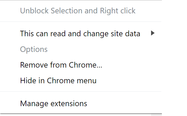 Unblock Selection and Right click
