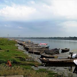Boats by Rajeev Sinha - Transportation Boats ( rivers, sangam, allahabad, riverside, river, transport, bridges, boad, landscape, transportation )