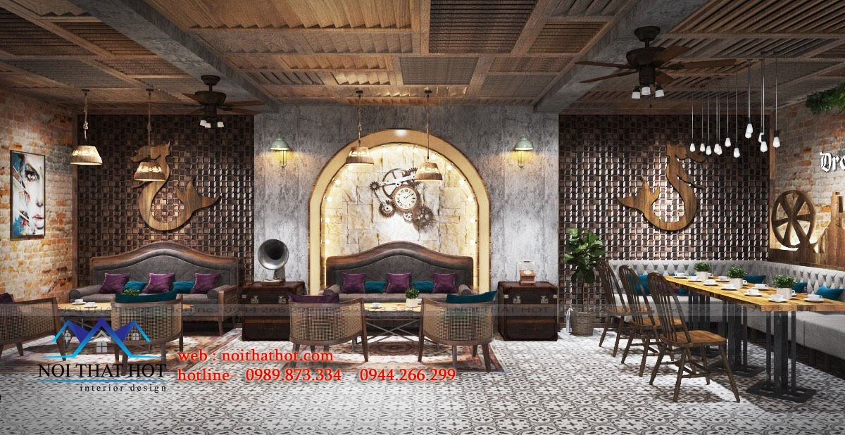 thiết kế quán cafe vintage châu âu