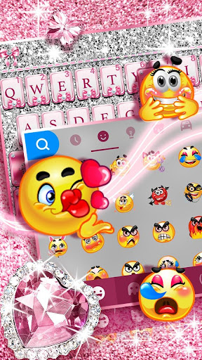 Pink Bow Diamond Luxury Keyboard Theme 1.0 screenshots 2