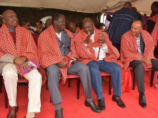 Baringo Senator Gideon Moi, ODM leader Raila Odinga, Narok Governor Samuel Tunai and former Gatanga MP Peter Kenneth at the thanksgiving ceremony of Anglican Archbishop Jackson Ole Sapit .
