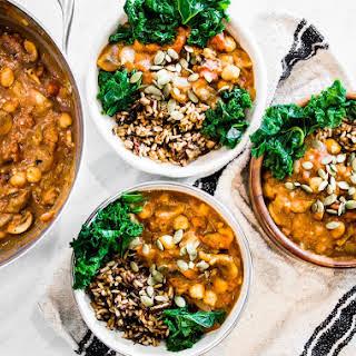 Vegan Pumpkin Chili with Wild Rice + Kale.