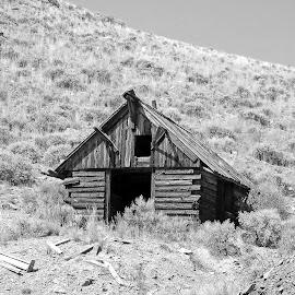 Abandoned Mine Shack by James Oviatt - Black & White Buildings & Architecture