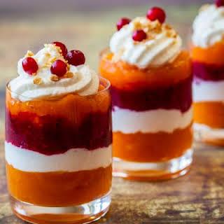 Festive Pumpkin Cranberry Jello Shots.