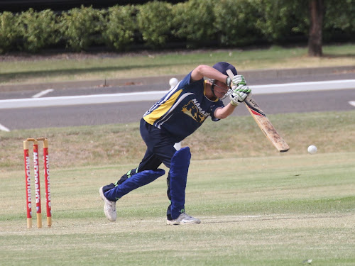 RSL second grade opening batsman Cooper Brayshaw plays a straight drive during his innings on Saturday, which saw him finish with 22.