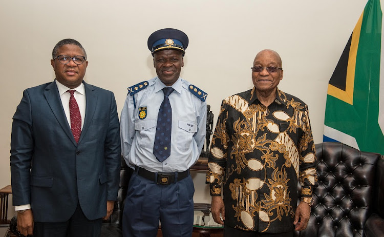 President Jacob Zuma and Minister of Police Mr Fikile Mbalula  with the newly appointed  National Police Commissioner General Khehla John Sitole,  following his appointment today. Picture: NTSWE MOKOENA