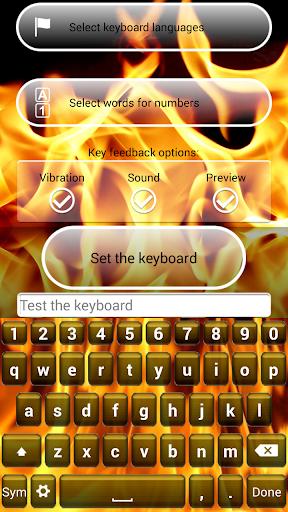 無料个人化Appの火災キーボードのテーマ 記事Game