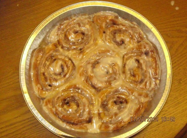 Once the cinnamon rolls are done make sure you add the glaze/icing while they...