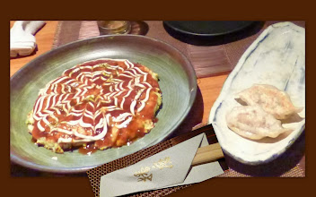Photo: First experience in my life - buying Okonomiyaki (left, around 550INR; http://en.wikipedia.org/wiki/Okonomiyaki) and Gyoza (around 350INR; http://en.wikipedia.org/wiki/Jiaozi) at a Japanese restaurant in India. At Harima (https://plus.google.com/116920440198555301363/about?gl=jp&hl=en) in Bengaluru, choices of typical Japanese starters / appraisers including Sashimi (raw fish fillets) and Karaage (http://en.wikipedia.org/wiki/Karaage) are available, beside square meals like Sushi, Oyako-don (http://en.wikipedia.org/wiki/Oyakodon,) and Ramen (http://en.wikipedia.org/wiki/Ramen.) Taste of our Okonomiyaki and Gyoza? Mmm... frankly, though I deeply appreciated and enjoyed them from heart, if only we had had all necessary ingredients including special Okonomiyaki-sauce here, one could have cooked them better at home (I think I felt this because of their higher prices.) One step inside the restaurant, I felt as if I were back in Japan with their almost all customers were Japanese business people talking and laughing loudly. Even some Japanese staffs are working in the restaurant. 20th November updated (日本語はこちら) - http://asksiddhi.in/blog/display/46/view