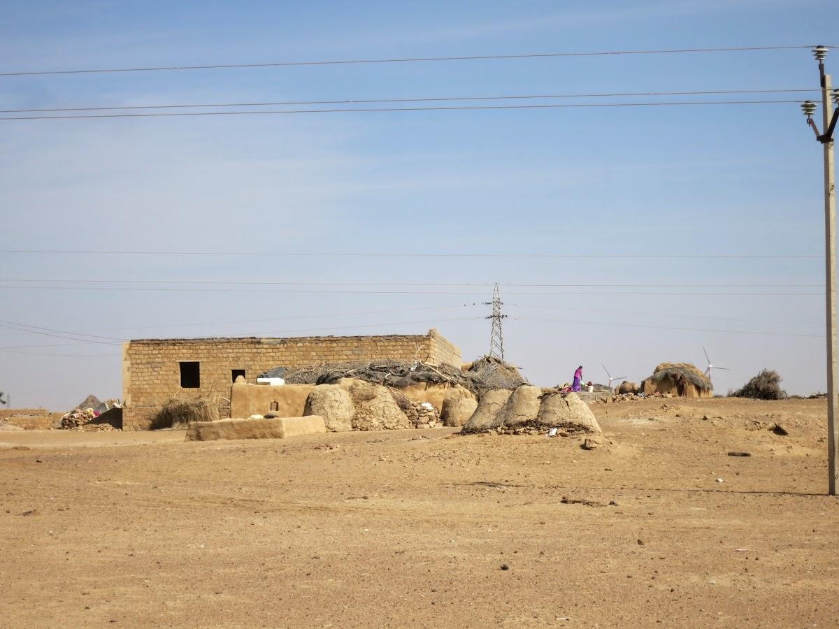 India. Rajasthan Thar Desert Camel Trek. Thar Village