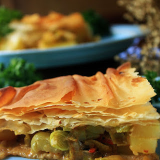 Spicy Potato and Leek Filo Pie.