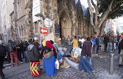 Foreigners at the Central Methodist Church in Greenmarket Square after being evicted from the UN High Commission for Refugees offices on October 30 2019 in Cape Town, South Africa.