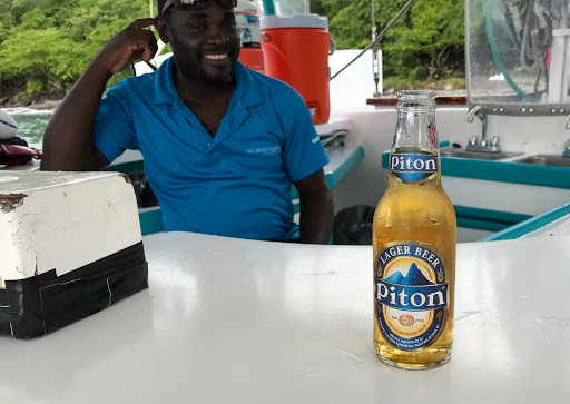 Piton Lager, a beer brewed in Vieux Fort, St. Lucia.