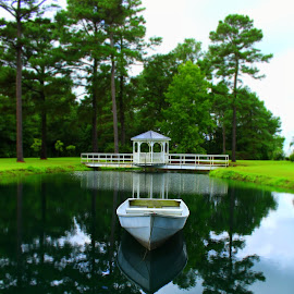 Choices & Reflections by Kevin Hill - Landscapes Waterscapes ( gazebo, pond, reflections, bridge, clouds, water, lake, boat,  )