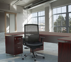 Photo: GS33F2SVRCOX shown with Medina Desking Mahogany