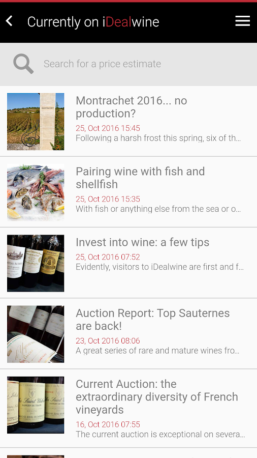 Wine Price Database, iDealwine- screenshot