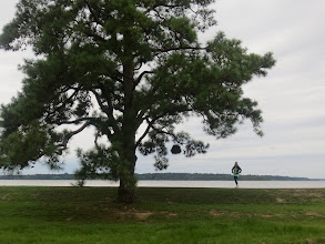 Photo: Tiny me at the site of the ship's first landing at Jamestown.  This spot is where the Susan Constant pulled ashore, on what would later be named the James River.
