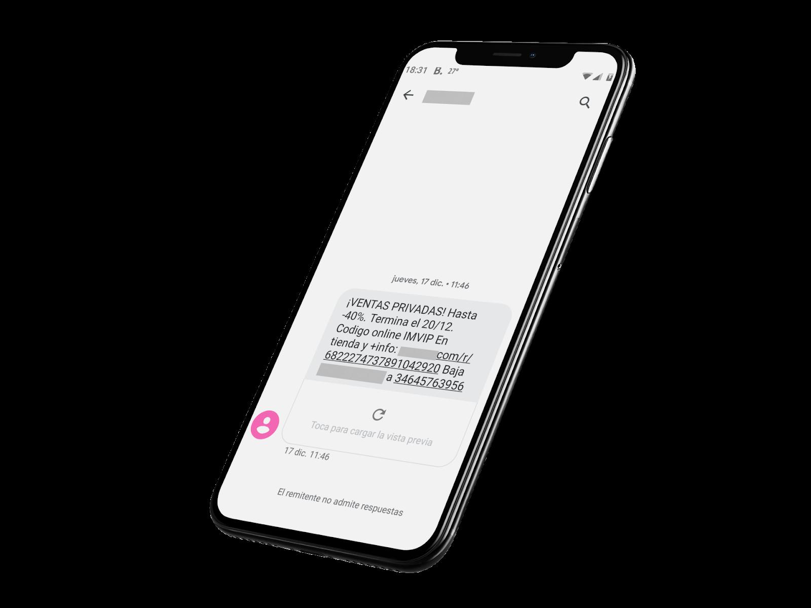 teléfono móvil con mensaje de texto