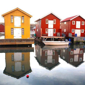 Holiday Cottage by the sea by Eva Larsson - Buildings & Architecture Other Exteriors ( water, sweden, cottage, boats, sea, holiday house, reflecting )