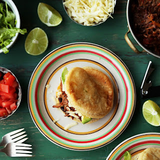 Shredded Beef and Black Bean Arepas