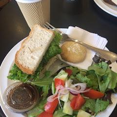 GF chicken salad sandwich, with salad and GF cookie.