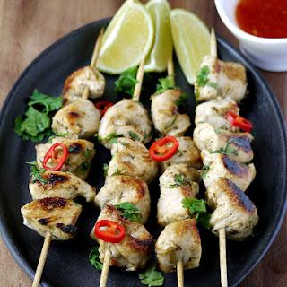 Easy Thai Chicken Kabobs.