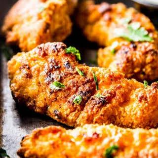 Garlic Parmesan Crispy Oven-Fried Chicken.
