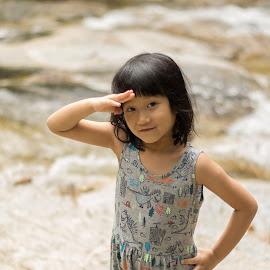 kid at waterfall by Loh Jiann - Babies & Children Child Portraits ( natural, waterfall, hello, portrait, child )