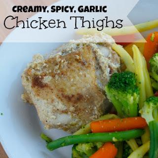 Creamy Spicy Garlic Chicken Thighs.