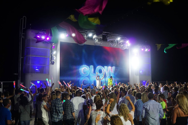 The nightlife scene at a Glow Party on Norwegian Getaway.