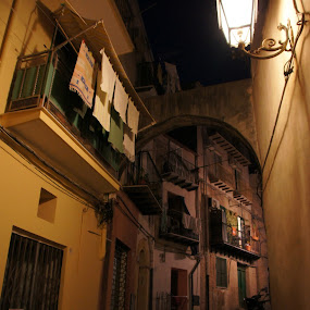 Night in Cefalu by Pavel Laberko - City,  Street & Park  Neighborhoods ( cefalu, night, italy, balcony, city, city at night, street at night, park at night, nightlife, night life, nighttime in the city )
