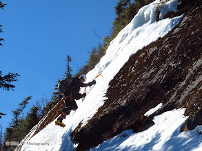 Photo: Kevin climbing the last bit of ice...now of the White slide and on the southern edge.