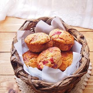 Strawberry & Cream Polenta Muffins.