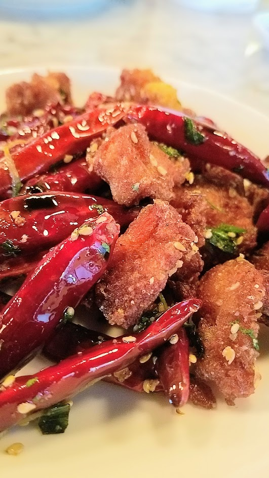 Danwei Canting spicy chicken with whole chili peppers and Sichuan peppercorns