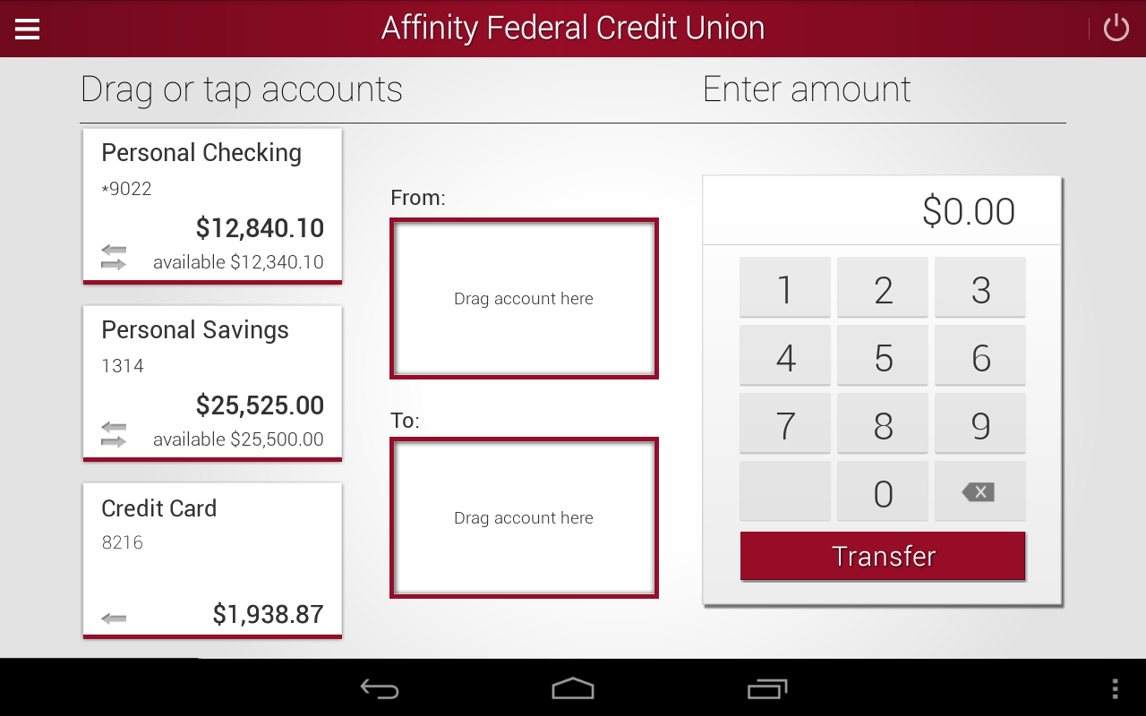 Affinity Federal Credit Union- screenshot