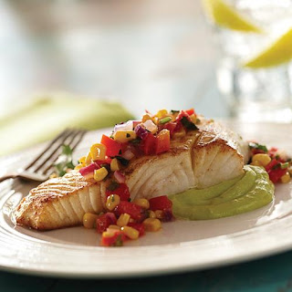 Pan-Seared Halibut with Avocado and Salsa.