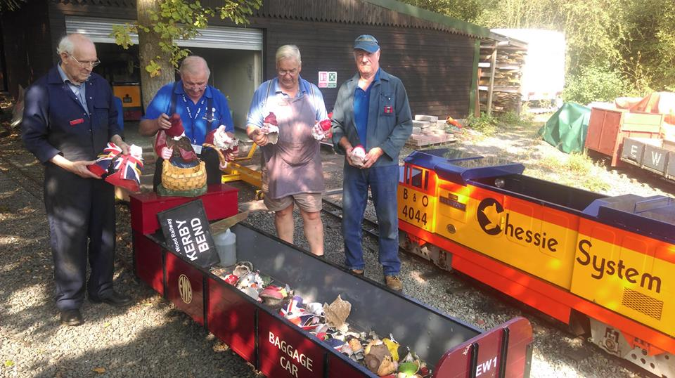 TSS help re-build vandalised gnome village at Echills Wood Railway