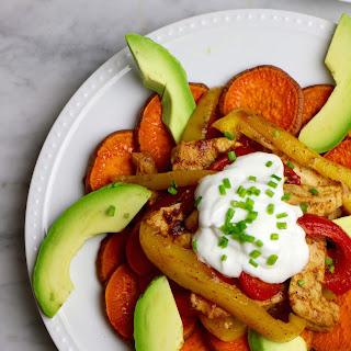 Healthy Chicken Fajita Sweet Potato Nachos.