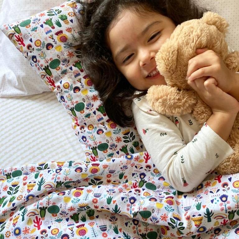 Lençol infantil cactos e flores Elefantinho Colorido