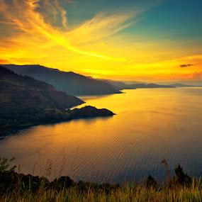 Beautiful sunset at lake Toba North Sumatra by Franshendrik P   Tambunan - Landscapes Sunsets & Sunrises
