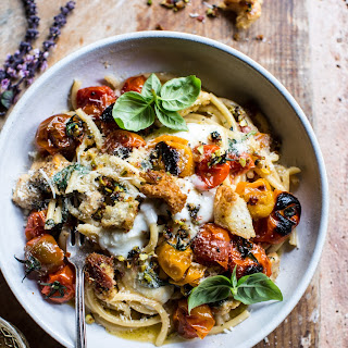 Charred Tomato Basil Chicken Florentine Pasta with Herb Butter Breadcrumbs.